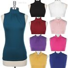 Women's Sleeveless Solid Plain Turtle Mock Neck Tank Top Casual S-L 1X-3X