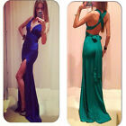 Women Sexy V Neck Backless High Split Evening Party Club Maxi Dress Sleeveless U