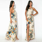 Women Fashion Summer Floral Boho Long Maxi Dress Evening Party Sleeveless US WB0