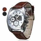 New Men's Boy's Analog Quartz Sport Army Black Brown Leather Wrist Watch