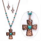 Hammered Metal Cross Turquoise Bead Long Necklace Set COPPER or SILVER