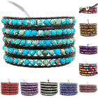 Hot Colorful Hand Made Mixed Crystal and Gemstones Beads Wrap Leather Bracelet image