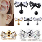 16G Bow CZ Gem Steel Barbell Tragus Cartilage Helix Studs Earrings Piercing Punk