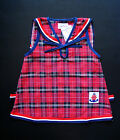 BABY GIRL SAILOR DRESS, Red Check Tartan Dress, 100% Cotton, for ages 0-4 Years