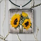 FLOWERS SUNFLOWERS #2 SQUARE PENDANTS NECKLACE MEDIUM OR LARGE ax3x