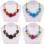 Fashion Flowers Pearls Charm Necklace Alloy  Pendant Chunky Bib Statement collar