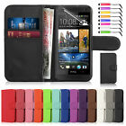 New Leather Flip Book Wallet Case Cover For HTC One Mini 2 Free Screen Protector