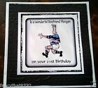 Handmade Personalised Birthday Card ANY AGE Rugby Brother Son Nephew Grandad