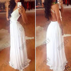Womens White Evening Cocktail Prom Occasion Evening Party Maxi Full Length Dress
