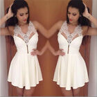 Sexy Women's Sleeveless White Lace Casual Party Evening COCKTAIL Prom Mini Dress