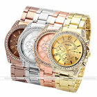 Fake 6-Hands Women Ladies Analog Crystal Geneva Quartz Alloy Band Wrist Watches