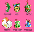 NEW-CLOISONNE ANIMAL FLAT BEAD PENDANT-SEAHORSE,OWL,TURTLE,FROG,ROOSTER..FROG