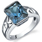 3.50 cts London Blue Topaz Solitaire Ring Sterling Silver Sizes 5 to 9