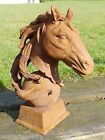 Heavy Cast Iron Detailed Horses Head Bust on Ball & Plinth Small & Large