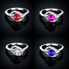 Ruby Fuchsia Swarovski Crystal 18K White Gold Gp Cocktail Wedding Finger Rings