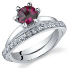 Classy Oblique Double-Band 1.00 cts Ruby Ring Sterling Silver Size 5 to 9