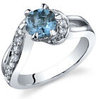 Majestic Wave 1.00 cts London Blue Topaz Ring Sterling Silver Size 5 to 9