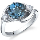 3 Stone Design 2.25 cts London Blue Topaz Ring Sterling Silver Size 5 to 9