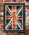 KCV10 Framed Vintage Style Union Jack Keep Calm Drink Tea Funny Poster A3/A4