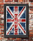 KC16 Framed Vintage Style Union Jack Keep Calm Play Cricket Funny Poster A3/A4