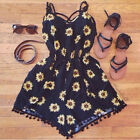 Cool Women Summer Black Floral Jumpsuit Tassel Sleeveless Playsuit Rompers WBUS