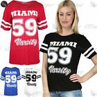 Womens Ladies Miami 59 Varsity Print Stripes Sleeve Baggy Oversized T Shirt Top