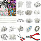 Jewellery Making Starter Kit Silver Findings Pliers Chain Cords Charms Bead Mix