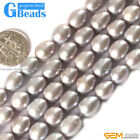 """8-9x9-10mm Egg Shape Black Cultured Pearl Jewelry Making Necklace Beads 15"""""""