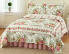 Collections Etc Reversible Floral Pink Bella Rose Quilt