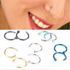 8mm Stainless Steel Open Nose Hoop Ring Ear Septum Lip Navel Earrings Jewelry ~