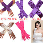 Bride Wedding Party Evening Dress Lace/Long Stretch Satin Bridal Gloves US