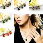 Crystal Rhinestone Jewelry 18K Gold Plated Drop Pendant Necklace Earrings Set