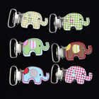 10PCs Baby Pacifier Clips Cute Elephant Style Purse Craft  Wood Metal Holders