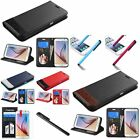 For Samsung Galaxy S6 Leather Credit Card Slot Wallet Stand Flip Case+Pen+Film
