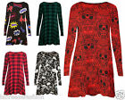 LADIES WOMENS HALLOWEEN SKULLS RED BLACK SWING SKATER DRESS FULL SLEEVES WINTER