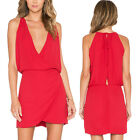 Women Sexy Deep V Neck Chiffon Sleeveless Casual Party Evening Summer Mini Dress