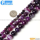 "Natural Stripe Purple Agate Onyx Gemstone Round Beads Free Shipping 15"" 6-14mm"