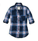 Abercrombie Fitch Womens Button Down Long Sleeve Navy Blue Plaid Shirt NWT