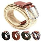 Men's Causal Leather Covered Buckle Woven Elastic Stretch Golf Wide Canvas Belts