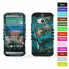 For HTC One M8 / W8 Teal Camo Camouflage Hybrid Rugged Armor Phone Case Cover