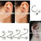 1x CZ Crystal 16G Steel Twist Nose Lip Eyebrow Cartilage Ring Earring Piercing