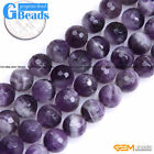 Round Faceted Gemstone Dream Lace Aamethyst Jewelry Making Beads Strand 15""