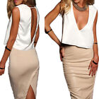 Ladies Deep V Backless Sleeveless Loose Crop Vest Cami Tops Blouse Clubwear