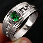 Men .925 Sterling Silver Ring Multi Sizes 5mm Stone Teeth Carve Band Jewelry