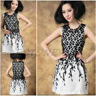 Womens Embroidery Lace Club Cocktail Party Dress Black White Leaves Sleeveless