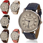 2015 New Fashion Mens Womens Rome Analog Quartz Watch Faux Leather Wrist Watches