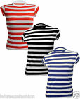 LADIES GEEK RED BLACK BLUE AND WHITE STRIPPED LINING T-SHIRT TSHIRT