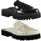 NEW WOMENS LADIES TASSLE FASHION SLIP ONS SUMMER CASUAL SMART CLEATED SHOES SIZE