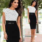 Women Elegant Cap Sleeve Casual Party Business Dress Bodycon Office Dresses PLUS