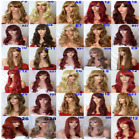 Dark Brown Real Natural Long Curly Straight Wavy Fringe Costume Party Ladies Wig